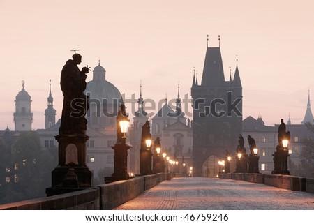 czech republic prague - charles bridge at dawn - stock photo