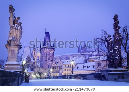 Czech Republic - Prague -  Charles Bridge in winter morning - stock photo