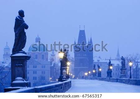 czech republic prague - charles bridge in winter morning - stock photo