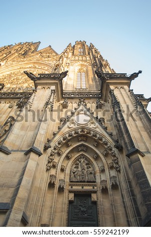 CZECH REPUBLIC, PRAGUE - DECEMBER 31, 2016: Part of Cathedral of Saint Vitus
