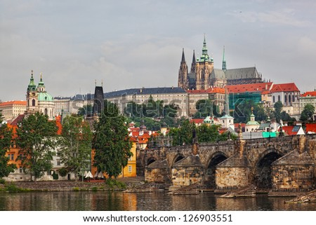 Czech republic, Prague, look on Gradchana and the Vltava River - stock photo