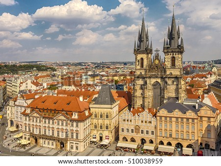 Czech Republic, Prague - September 2, 2016: Church of Our Lady before Tyn - dominant is the Old Town Square of Prague, the main parish church district of Stare Mesto.