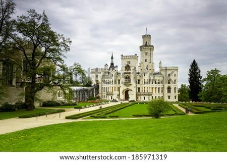 Czech Republic - white castle Hluboka nad Vltavou - stock photo