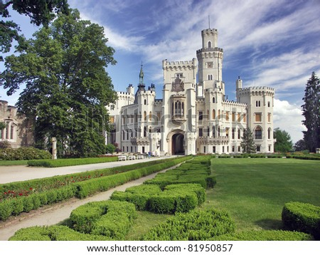 Czech Republic - white castle Hluboka nad Vltavou - stock photo