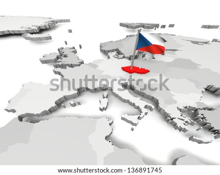 Czech Republic with czech national flag on map of Europe - stock photo