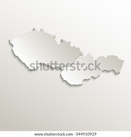 Czech Slovakia map card paper 3D natural raster Czechoslovakia separate maps - stock photo