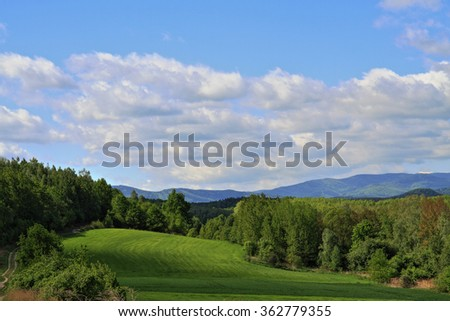 czech spring country with fields and forests  - stock photo
