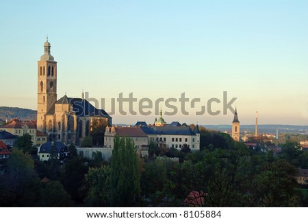 Czech town of Kutna Hora at sunset with a datail of church
