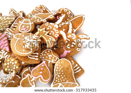 czech traditional ginger bread isolated on the white background
