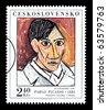 CZECHLOVOKIA - CIRCA 1972: A postage stamp printed in Czechlovokia showing Pablo Picasso, circa 1972 - stock photo