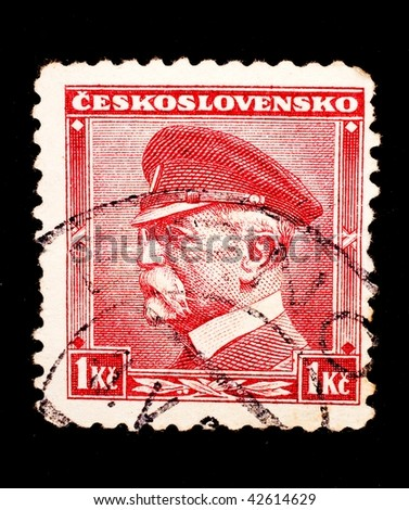 CZECHOSLOAVKIA - CIRCA 1958: A stamp printed in Czechoslovakia shows image of an elderly officer, series, circa 1958 - stock photo