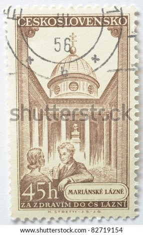 CZECHOSLOVAKIA - CIRCA 1956: A brown 45h stamp from Czechoslovakia (catalogue number Scott 2008 741) shows image of the Marianske Lazne (Marienbad) spa, circa 1956