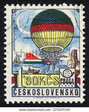 CZECHOSLOVAKIA - CIRCA 1978: A postage stamp printed in Czechoslovakia, shows balloon with wings built by Jean-Pierre Blanchard and John Jeffries, 1785, circa 1978  - stock photo