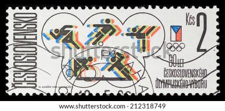 CZECHOSLOVAKIA - CIRCA 1984: A postage stamp printed in CZECHOSLOVAKIA shows 1984 Sarajevo Olympic games,  circa 1984 - stock photo