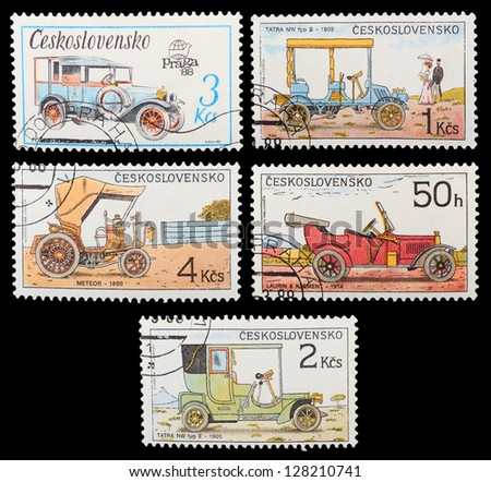 CZECHOSLOVAKIA - CIRCA 1988: A set of postage stamps printed in CZECHOSLOVAKIA shows historic cars, series, circa 1988 - stock photo