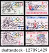 CZECHOSLOVAKIA - CIRCA 1984: A set of postage stamps printed in CZECHOSLOVAKIA shows olympic games in Sarajevo, series, circa 1984 - stock photo