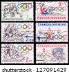 CZECHOSLOVAKIA - CIRCA 1984: A set of postage stamps printed in CZECHOSLOVAKIA shows olympic games in Sarajevo, series, circa 1984 - stock photo