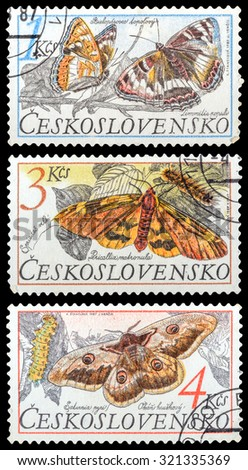 CZECHOSLOVAKIA- CIRCA 1987: A set of postage stamps printed in the Czechoslovakia, shows series Butterflies, circa 1987 - stock photo