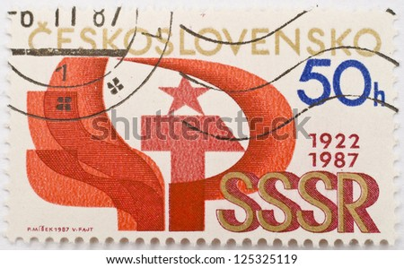 CZECHOSLOVAKIA - CIRCA 1987: A stamp from Czechoslovakia shows image celebrating the Union of Soviet Socialist Republics (USSR / SSSR), circa 1987 - stock photo