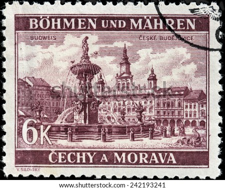 CZECHOSLOVAKIA - CIRCA 1940: A stamp printed by BOHEMIA AND MORAVIA (German Occupation Issues) shows view of Samson Fountain and Town Hall in Budweis (Ceske Budejovice), circa 1940 - stock photo
