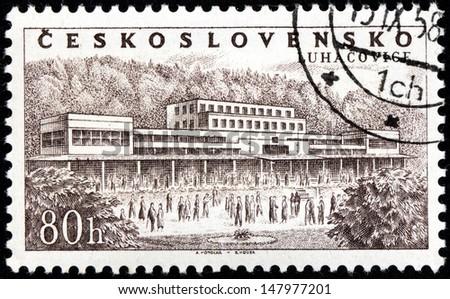 CZECHOSLOVAKIA - CIRCA 1958: A stamp printed by Czechoslovakia shows beautiful view of spa town Luhacovice in the Zlin Region, Moravia, Czech Republic, circa1958. - stock photo