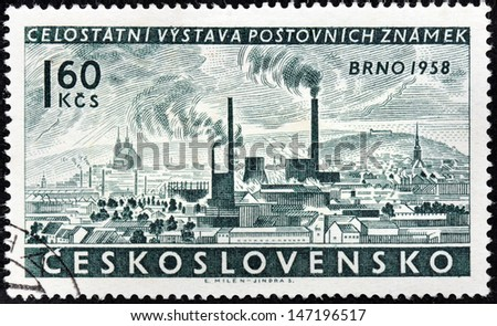 CZECHOSLOVAKIA - CIRCA 1958: a stamp printed by Czechoslovakia, shows bird's-eye view of Brno town, circa 1958.