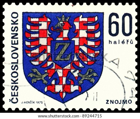 CZECHOSLOVAKIA - CIRCA 1975: A stamp printed by Czechoslovakia shows Coats of Arms of Czechoslovakia  towns. Znojmo, series, circa 1975