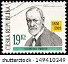 CZECHOSLOVAKIA - CIRCA 2006: A stamp printed by CZECHOSLOVAKIA shows image portrait of Austrian neurologist Sigmund Freud who became known as the founding father of psychoanalysis, circa 2006.  - stock photo