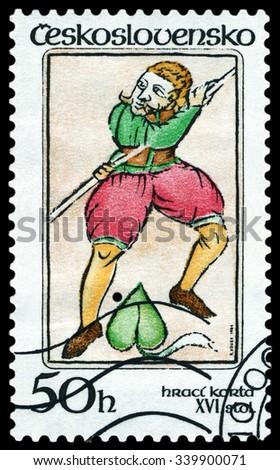 CZECHOSLOVAKIA - CIRCA 1984: a stamp printed by Czechoslovakia  shows Jester 16th , circa 1984 - stock photo
