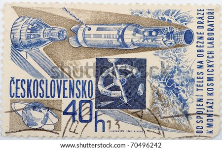 CZECHOSLOVAKIA - CIRCA 1967: A stamp printed by Czechoslovakia shows Yuri Gagarin , stamp is from the series, circa 1967