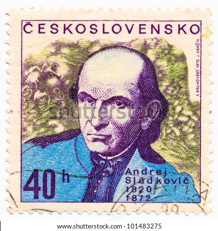 CZECHOSLOVAKIA - CIRCA 1972: A stamp printed in Czech, shows portrait of Andrej Sladkovic (1820-1872) was a Slovak poet, critic, publicist, series,  circa 1972