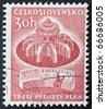 CZECHOSLOVAKIA - CIRCA 1961: a stamp printed in  Czechoslovakia celebrates the third five-year plan for economy showing image of a nuclear reactor. Czechoslovakia, circa 1961 - stock photo