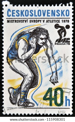CZECHOSLOVAKIA - CIRCA 1978: A stamp printed in Czechoslovakia dedicated 5th European Athletic Championships, Prague, shows Shot put, circa 1978 - stock photo