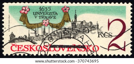 CZECHOSLOVAKIA - CIRCA 1985: A stamp printed in Czechoslovakia dedicated to 350th Anniversary of Trnava University, circa 1985 - stock photo