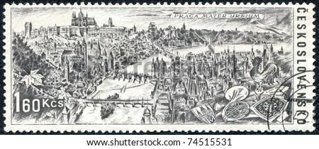 "CZECHOSLOVAKIA - CIRCA 1967: A stamp printed in Czechoslovakia devoted to an international tourist year, shows a panorama of Prague, with the inscription ""Praga mater urbium"", series, circa 1967. - stock photo"