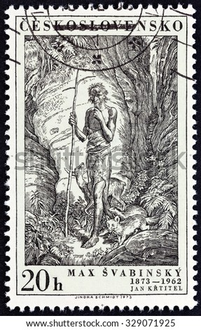 "CZECHOSLOVAKIA - CIRCA 1973: A stamp printed in Czechoslovakia from the ""Birth Centenary of artist and designer Max Svabinsky "" issue shows St. John the Baptist, circa 1973."