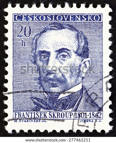 "CZECHOSLOVAKIA - CIRCA 1962: A stamp printed in Czechoslovakia from the ""Cultural Celebrities and Anniversaries"" issue shows Frantisek Skroup (composer and conductor), circa 1962.  - stock photo"