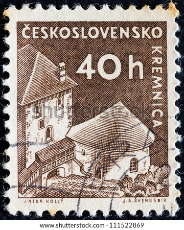 "CZECHOSLOVAKIA - CIRCA 1960: A stamp printed in Czechoslovakia from the ""Czechoslovak Castles"" issue shows Kremnica castle, circa 1960."