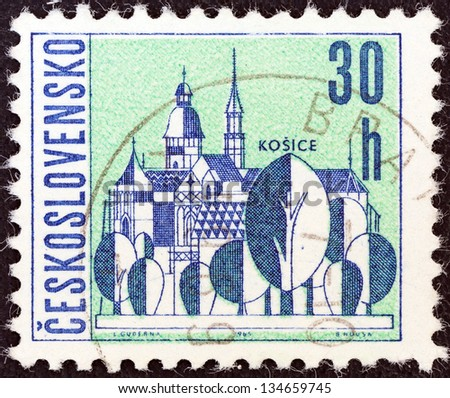 "CZECHOSLOVAKIA - CIRCA 1965: A stamp printed in Czechoslovakia from the ""Czechoslovakian Towns"" issue shows Kosice, circa 1965. - stock photo"