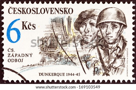 "CZECHOSLOVAKIA - CIRCA 1992: A stamp printed in Czechoslovakia from the ""Free Czechoslovak Forces in World War II "" issue shows soldiers (Dunkirk, 1944-45), circa 1992.  - stock photo"