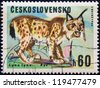 "CZECHOSLOVAKIA - CIRCA 1966: A stamp printed in Czechoslovakia from the ""Game Animals"" issue shows a Lynx (Lynx lynx), circa 1966. - stock photo"