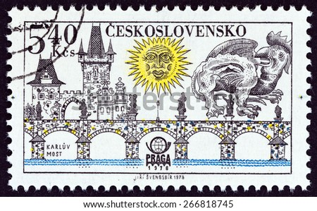 "CZECHOSLOVAKIA - CIRCA 1978: A stamp printed in Czechoslovakia from the ""PRAGA 78 International Stamp Exhibition. Prague Bridges "" issue shows Charles Bridge, circa 1978.  - stock photo"