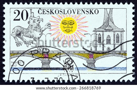 "CZECHOSLOVAKIA - CIRCA 1978: A stamp printed in Czechoslovakia from the ""PRAGA 78 International Stamp Exhibition. Prague Bridges "" issue shows Palacky Bridge, circa 1978.  - stock photo"