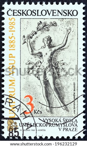 CZECHOSLOVAKIA - CIRCA 1985: A stamp printed in Czechoslovakia issued for the Centenary of Prague University of Applied Arts shows Art and Pleasure (Jan Simota), circa 1985.  - stock photo