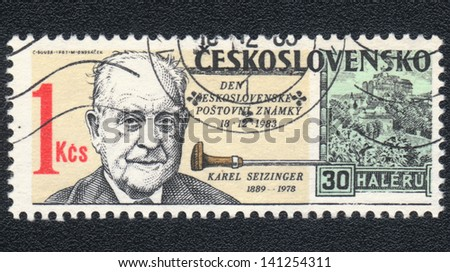 CZECHOSLOVAKIA - CIRCA 1983: A stamp printed in CZECHOSLOVAKIA Portrait of Karl Seizinger author of miniatures, Day postage stamp , circa 1983