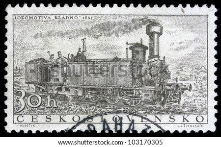 CZECHOSLOVAKIA - CIRCA 1956: A stamp printed in Czechoslovakia showing the 'Kladno' Locomotive of 1855, circa 1956. - stock photo