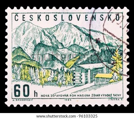 CZECHOSLOVAKIA - CIRCA 1964: A stamp printed in Czechoslovakia showing Zdiar in High Tatras, circa 1964 - stock photo