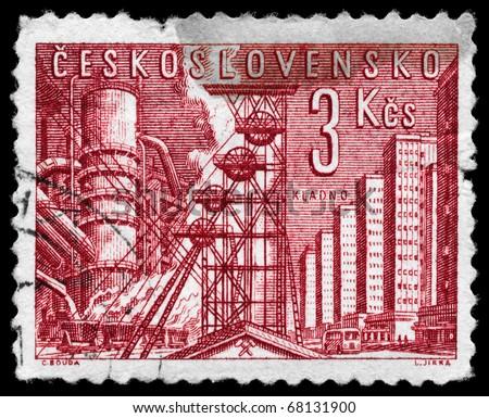 CZECHOSLOVAKIA - CIRCA 1961: A Stamp printed in Czechoslovakia shows a blast furnace and mine, circa 1961 - stock photo
