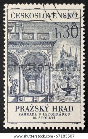 CZECHOSLOVAKIA - CIRCA 1966: a stamp printed in  Czechoslovakia shows a detail of Royal Summer Palace in Prague. Czechoslovakia, circa 1966