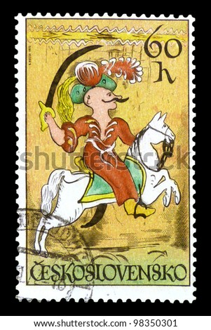 "CZECHOSLOVAKIA - CIRCA 1972: A stamp printed in Czechoslovakia shows a Turkish Janissary without inscription, from the series ""Horsemanship from 18-19 century. Ceramics and Glass"", circa 1972"